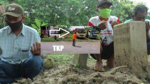 Makam korban Durrohim di Desa Woro, Kecamatan Kragan. (Insert) TKP parkir dump truk.