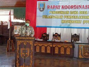 Wakil Bupati Rembang, Mochamad Hanies Cholil Barro' saat hadir dalam rapat koordinasi dan evaluasi penggunaan dana desa untuk mendukung Pemberlakuan Pembatasan Kegiatan Masyarakat (PPKM) Mikro.