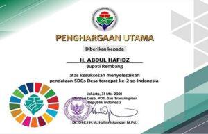 Rembang meraih penghargaan tercepat nomor 2 se-Indonesia dalam menyelesaikan pendataan SDGs. (Foto atas) Bupati Rembang, Abdul Hafidz ketika menggelar pantauan pasar.